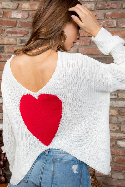 Round Neck Heart Back Sweater