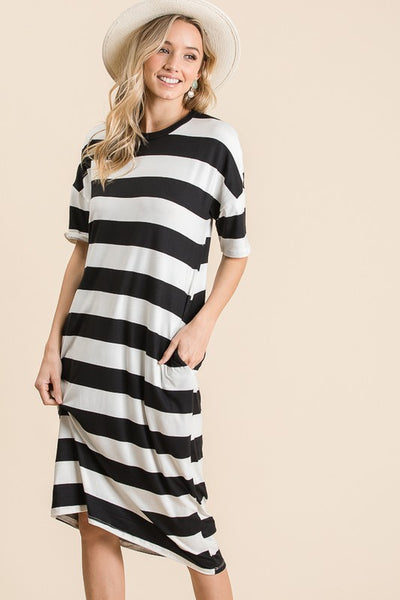 Bom Bom Fashion Midi Bold Stripe T-Shirt Dress