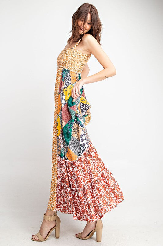 Smocked Boho Printed Maxi Dress