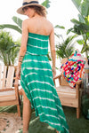 Emerald Tie Dye Strapless Flowy Dress