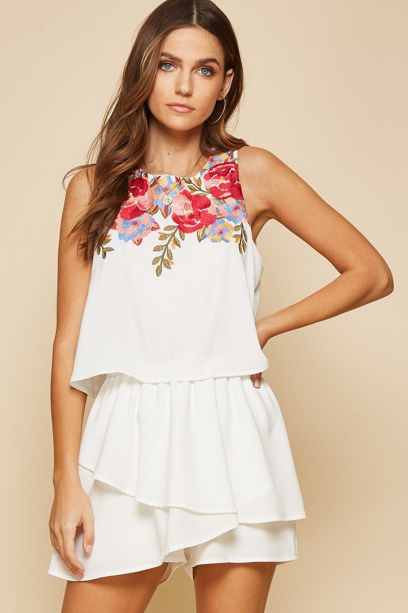 White Floral Embroidery Romper
