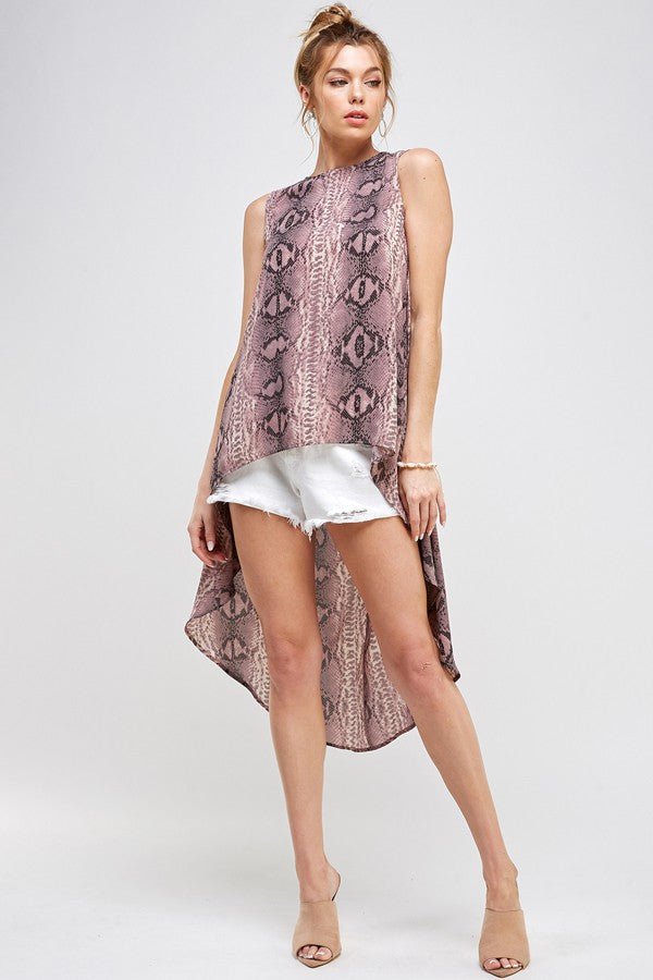 Snake Print High Low Tank Top
