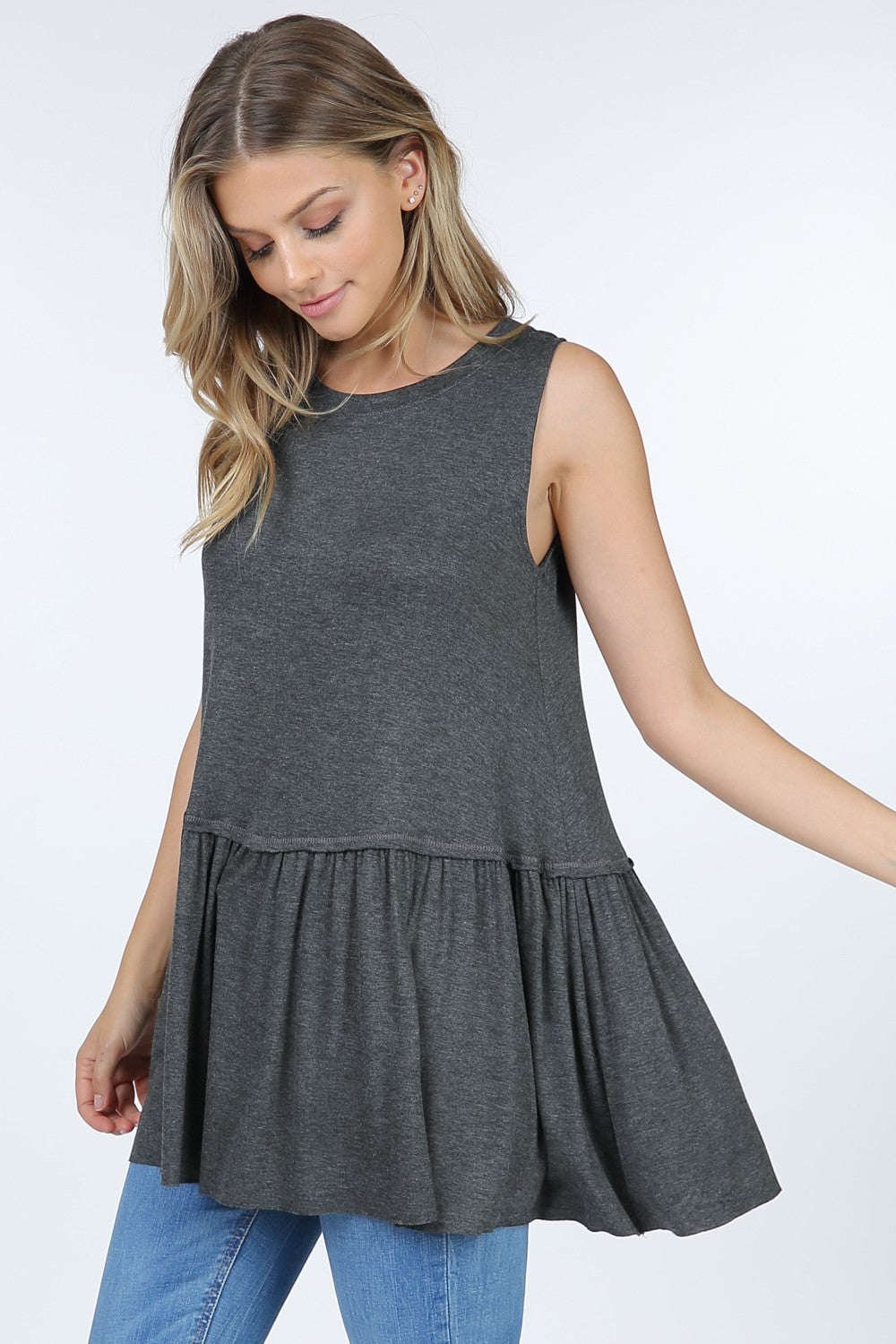 Charcoal Basic Women's Ruffle Top
