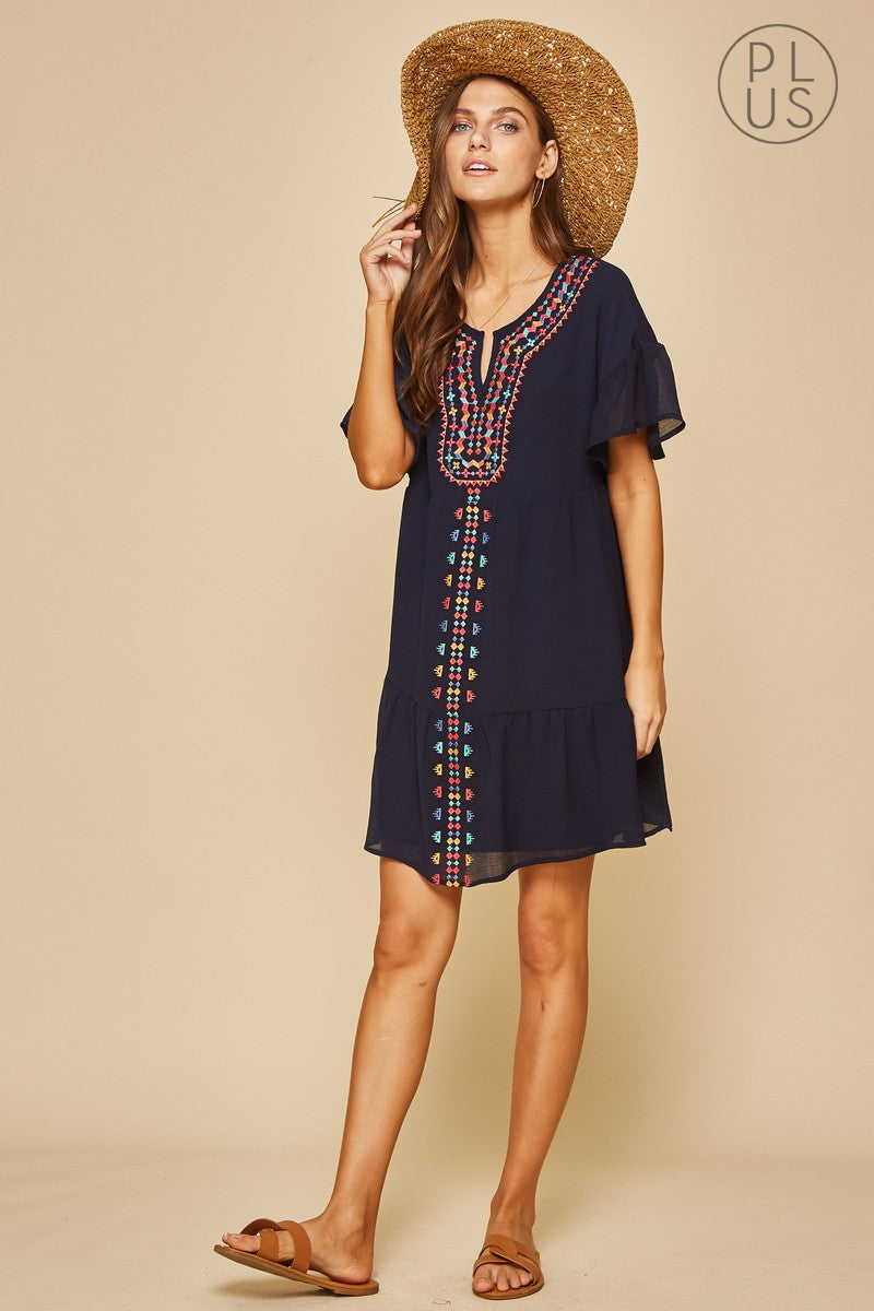 Andree Embroidered Navy Swing Woven Dress