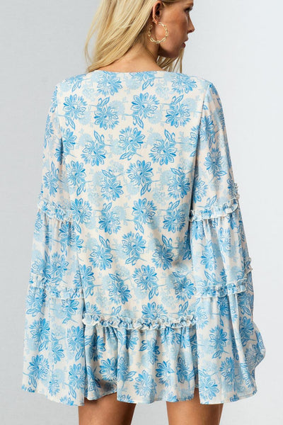 Boho Floral Dramatic Bell Sleeve Dress Tunic