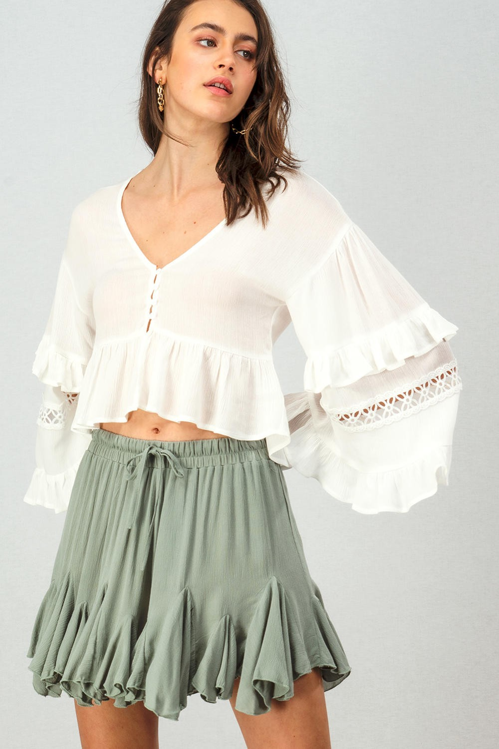 Tiered Ruffle Bell Crop Top