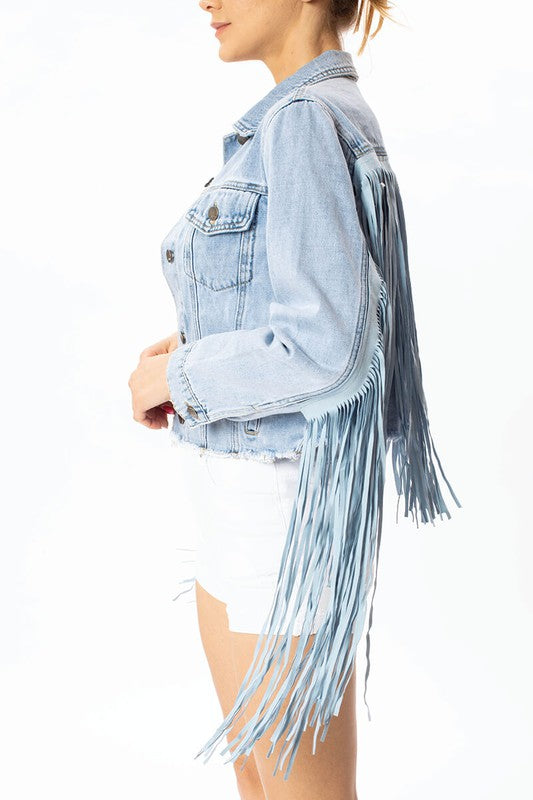 Western Denim Fringe Fashion Jean Jacket