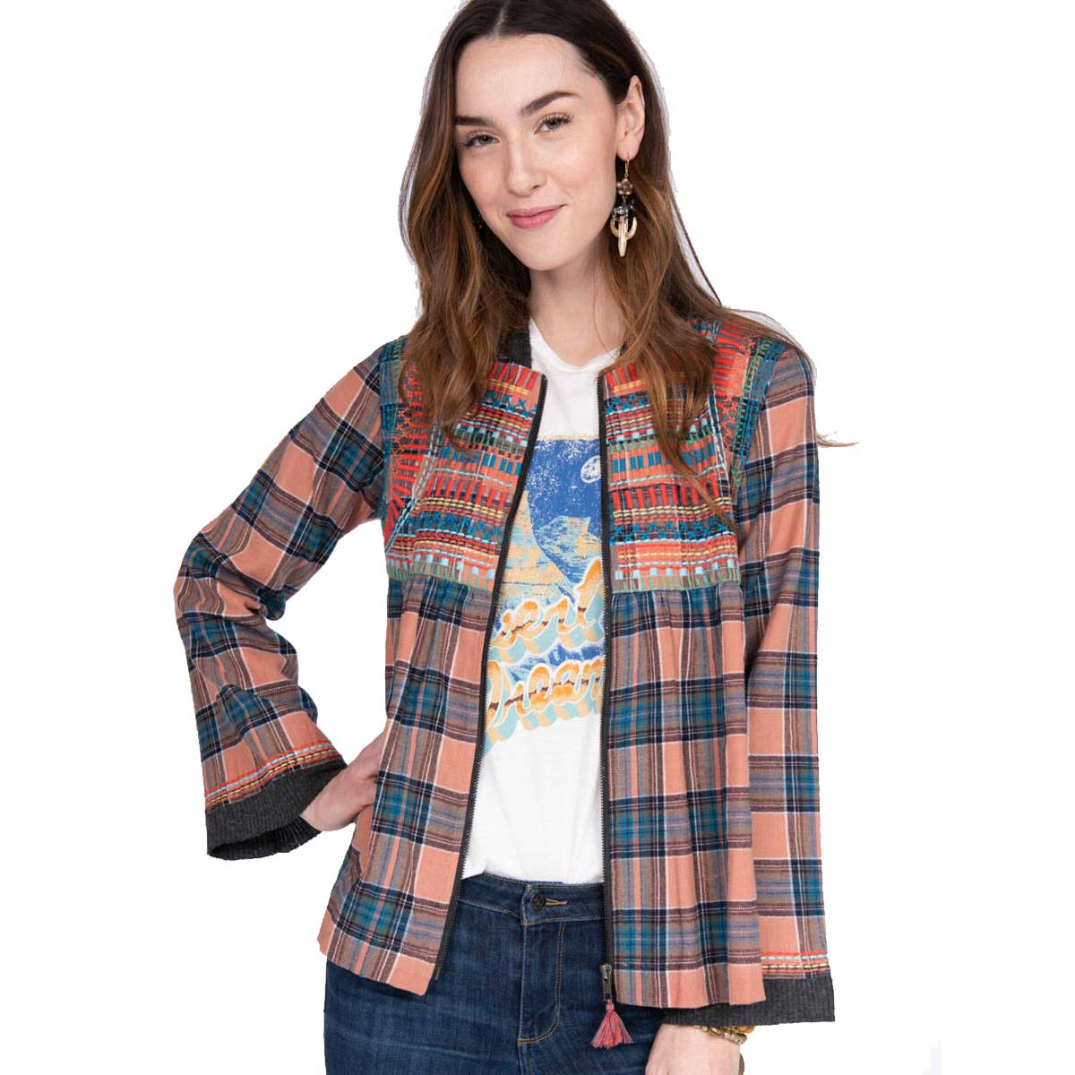 Ivy Jane Zip of Colors Plaid Jacket