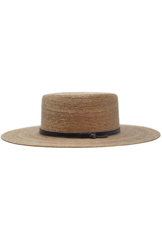 Women's Gambler Palm Leaf Straw Boater Hat