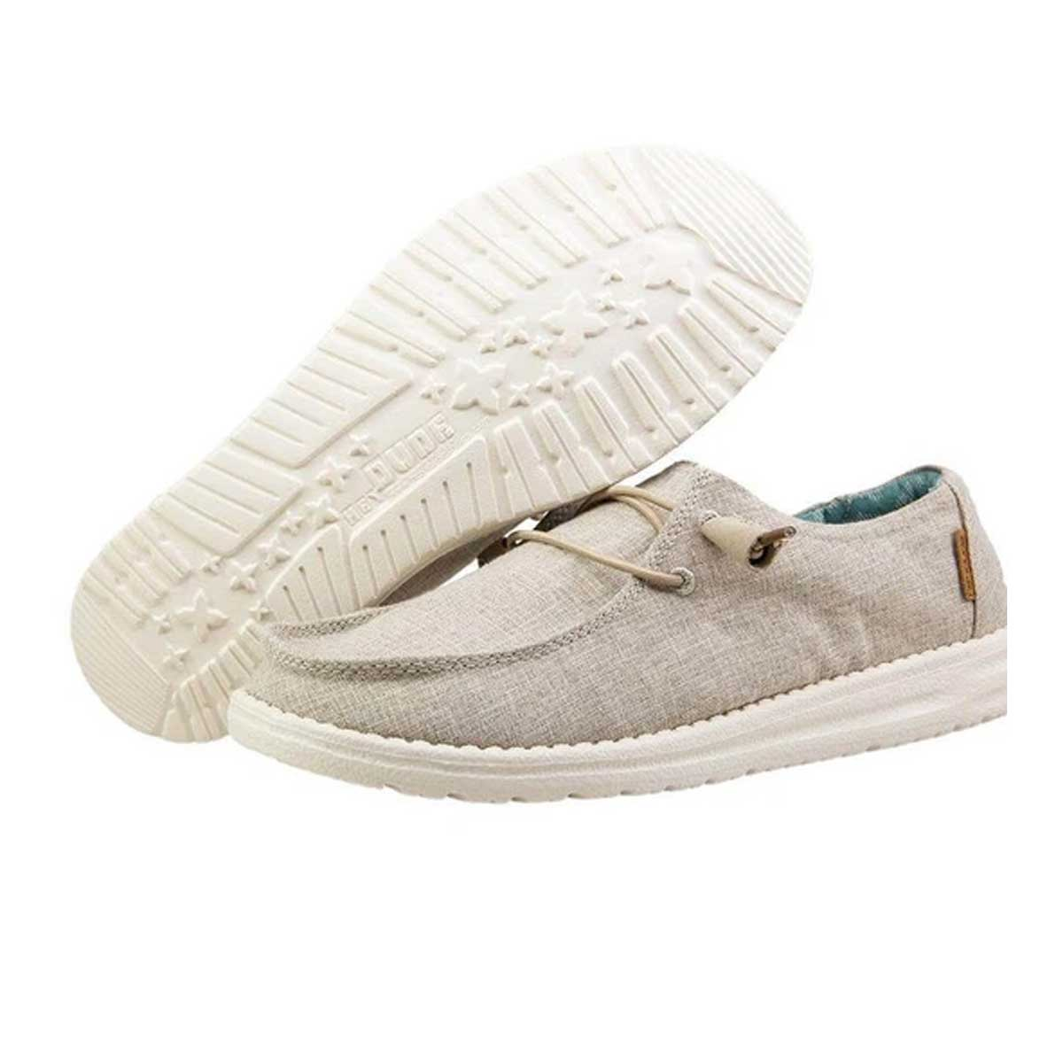 Hey Dude Women's Wendy Chambray Linen Comfort Shoes - Beige