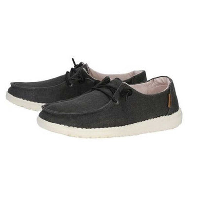 Hey Dude Women's Wendy Linen Chambray Slip On Shoes - Off Black