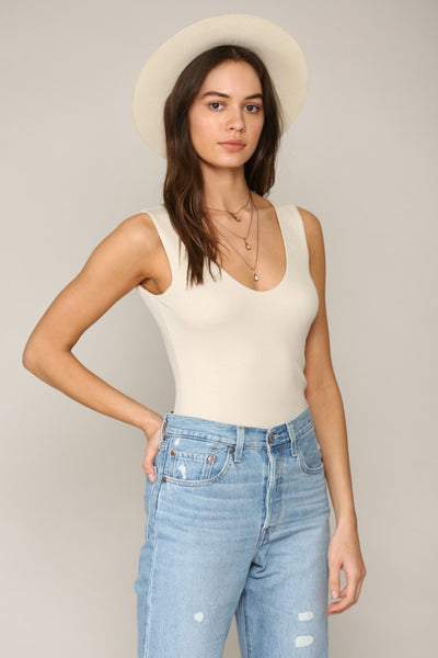 By Together Double Layer V-neck Tank Top - Ivory