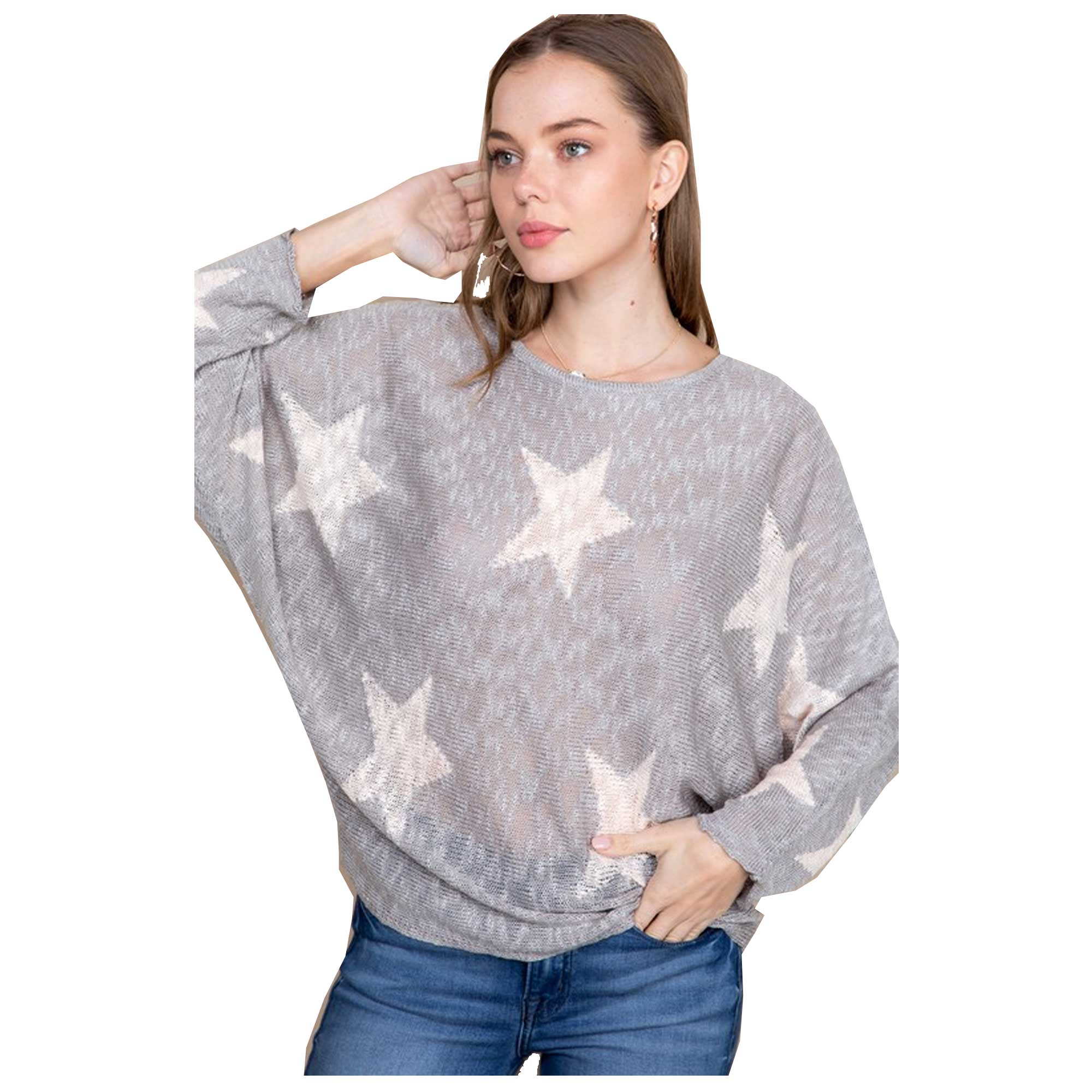 Blue B Star Print Wide Neck Sweater - Grey/Pink