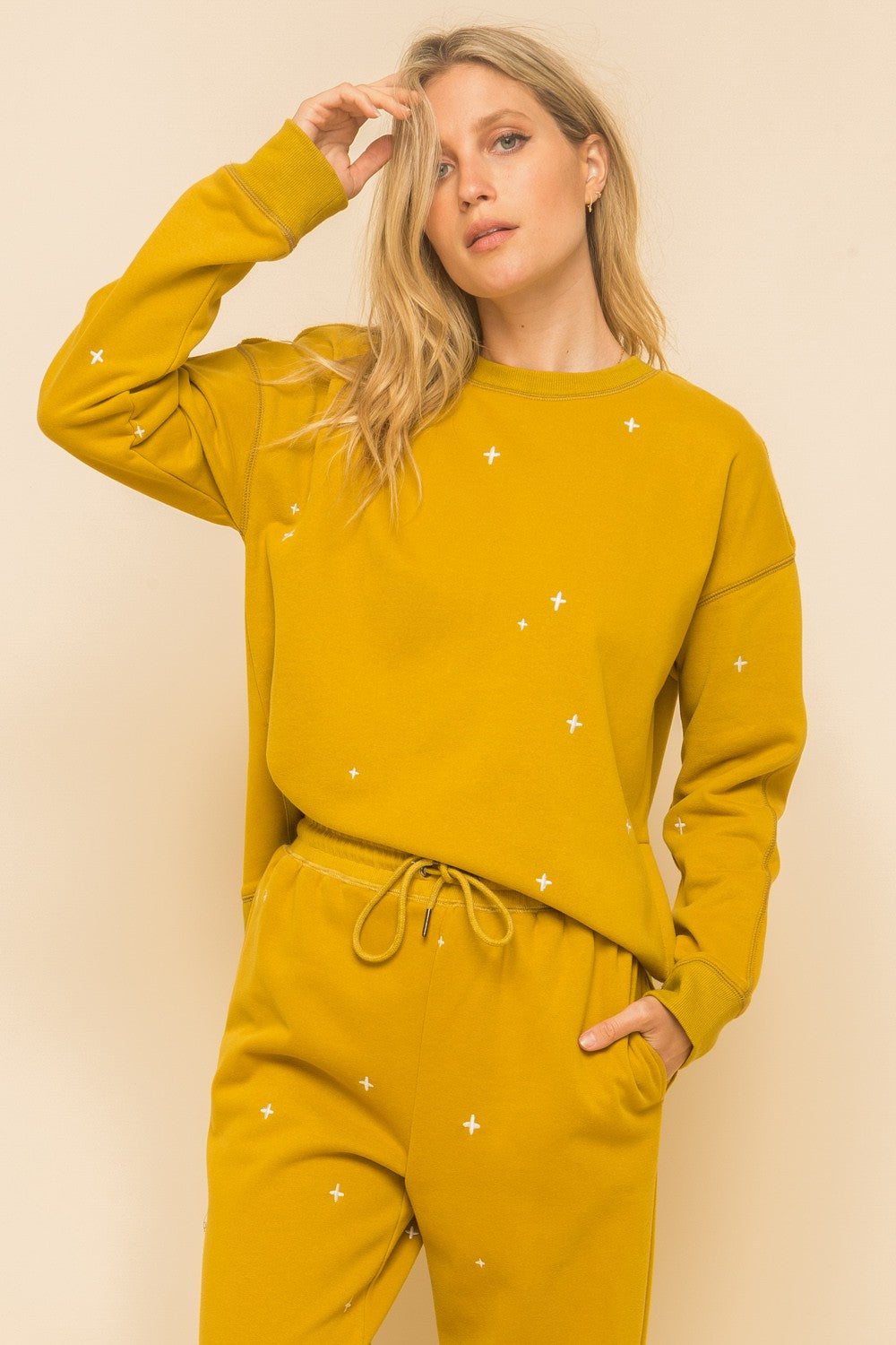 Women's Mustard Soft Cross Embroidery Side Split Sweatshirt