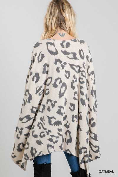 Women's Blush Leopard Print Poncho Top