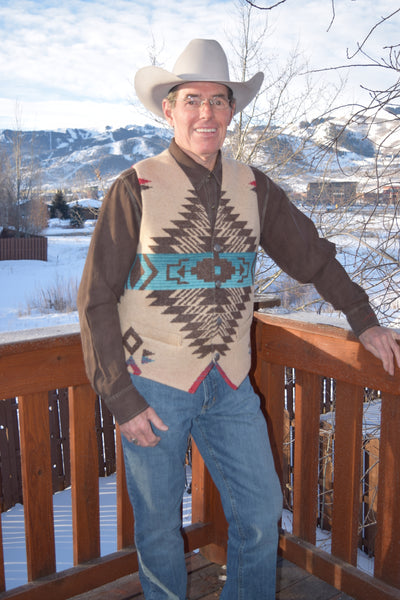 Men's Aztec Vest By Rhonda Stark