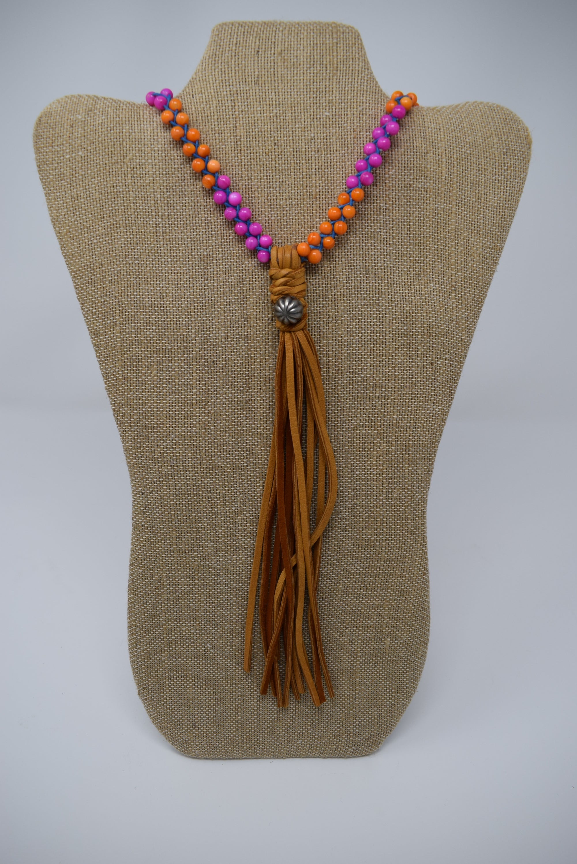 Sundance Pink & Orange Long Tassle Necklace
