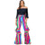 L & B Women's Serape Stretchy Flare Bell Bottom Pants - Fuchsia