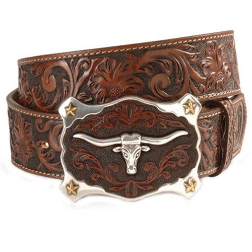 Justin Classic Brown Longhorn Men's Leather Belt
