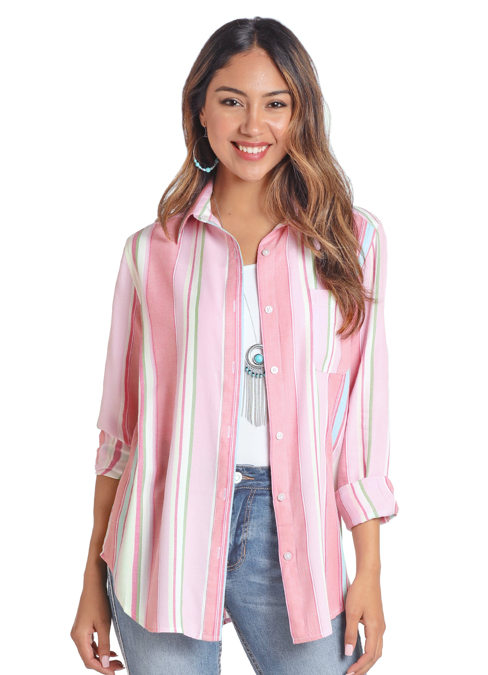Panhandle Women's Button Down Boyfriend Serape Print Shirt