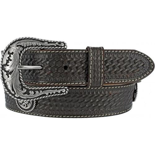 Justin Basketweave Black Men's Leather Belt