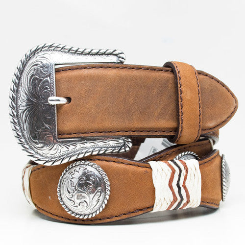 Apache Brown Belt With Lacing & Conchos