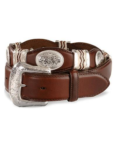 Tony Lama Cutting Champ Scallop Western Leather Mans Belt Brown with Concho - Lazy J Ranch Wear