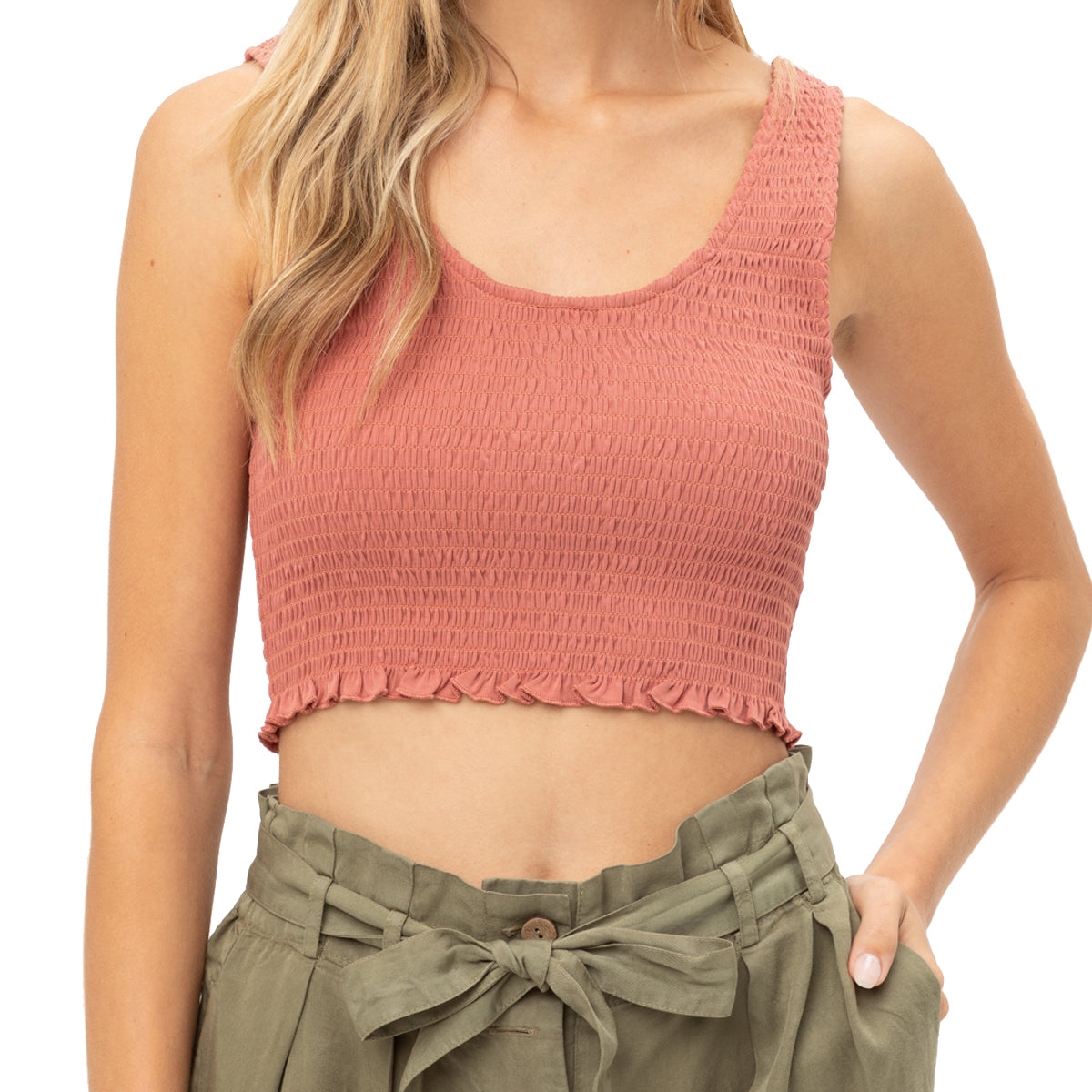 Love Tree Women's Cropped Smocked Tank Top - Terra
