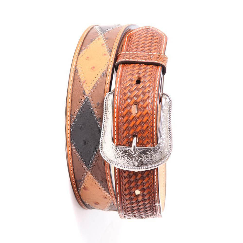 3D Belt Co. Patchwork Ostrich Print Men's Belt, Men's Belt, 3D Belt Company - Lazy J Ranch Wear