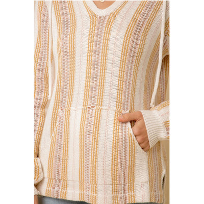 Hem & Thread Women's Multi-Striped Hooded Sweater