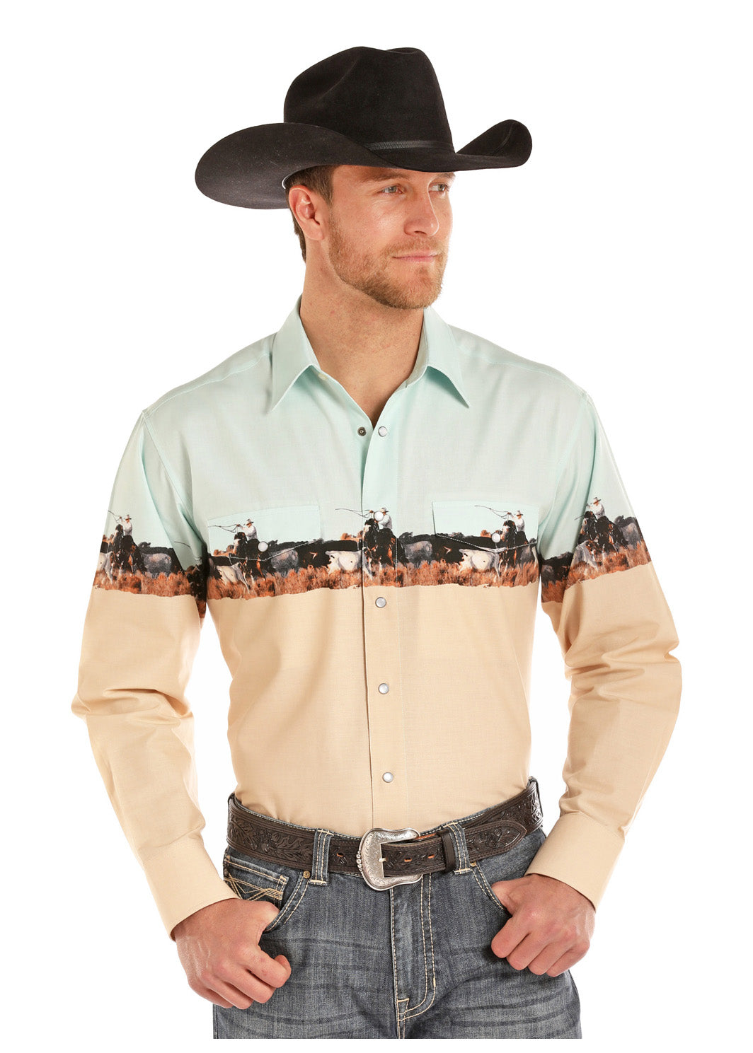 Panhandle Select Cowboy Scenic Men's Pearl Snap