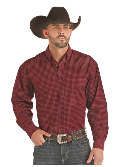 Panhandle Burgundy Poplin Print Men's Button Down