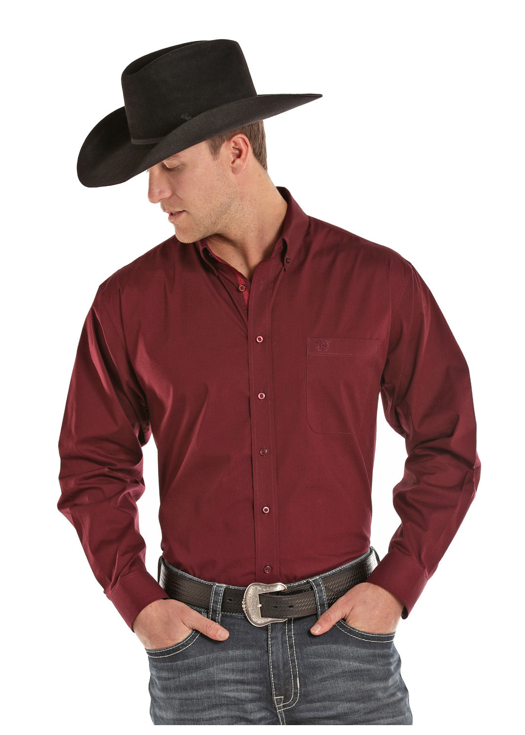 Panhandle Maroon Long Sleeve Men's Shirt