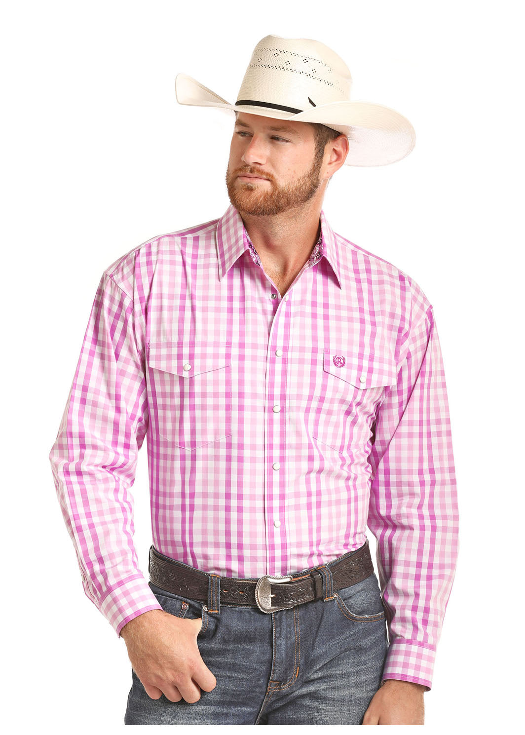 Panhandle Select Pink Plaid Men's Pearl Snap