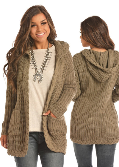 Panhandle Braided Hem Women's Olive Cardigan