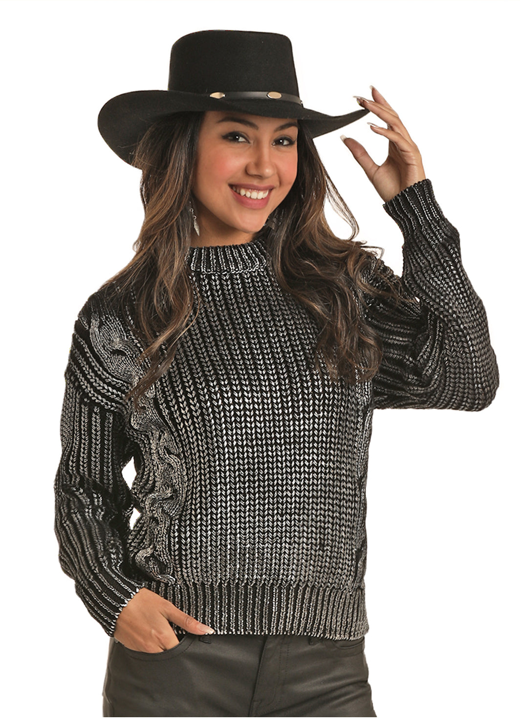 Rock N Roll Cowgirl Women's Cowgirl Cable Knit Sweater - Black Silver Metallic