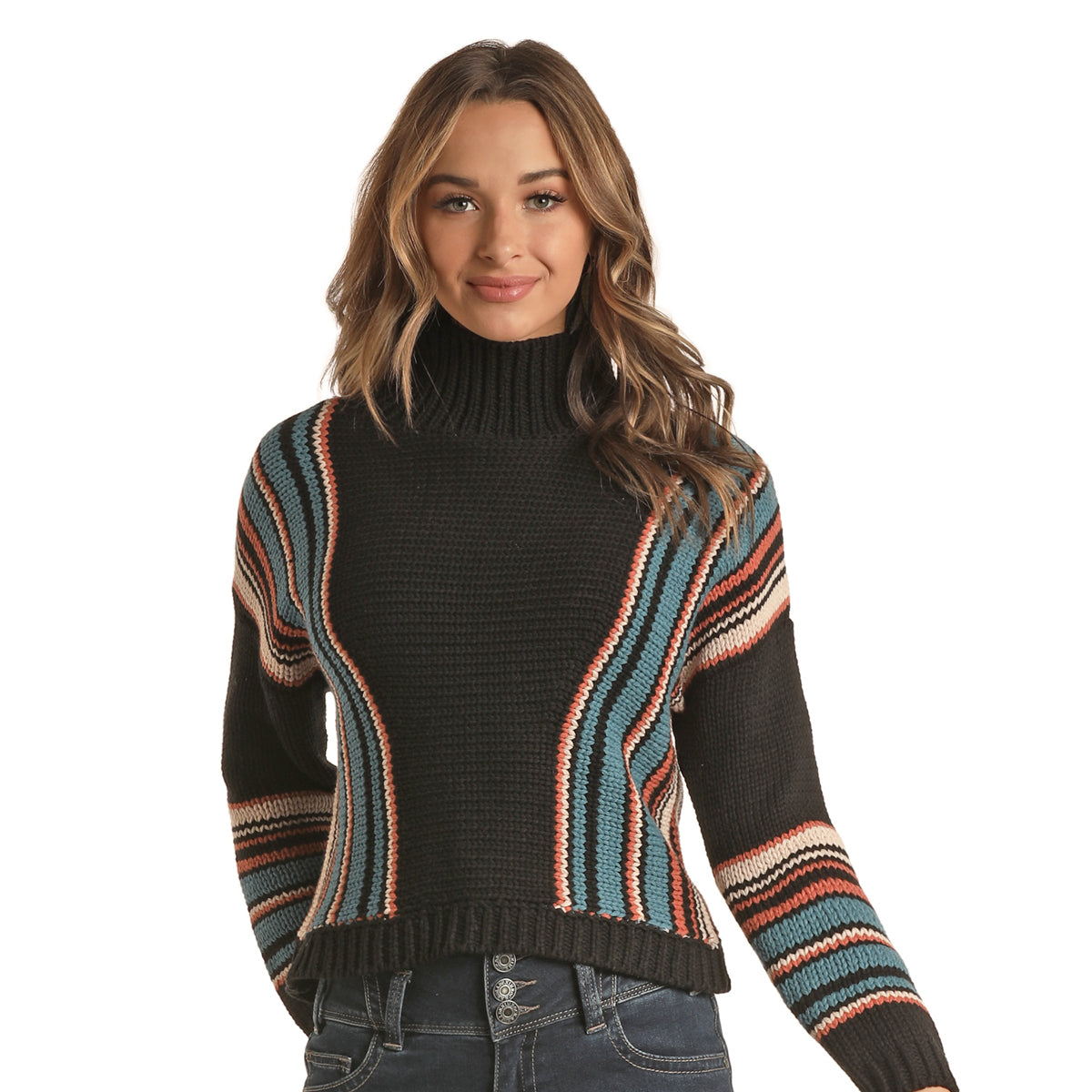 Rock & Roll Cowgirl Junior's Striped Pullover Sweater - Black Teal Rust