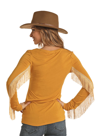 Rock & Roll Cowgirl Mustard Fringe Long Sleeve Tee
