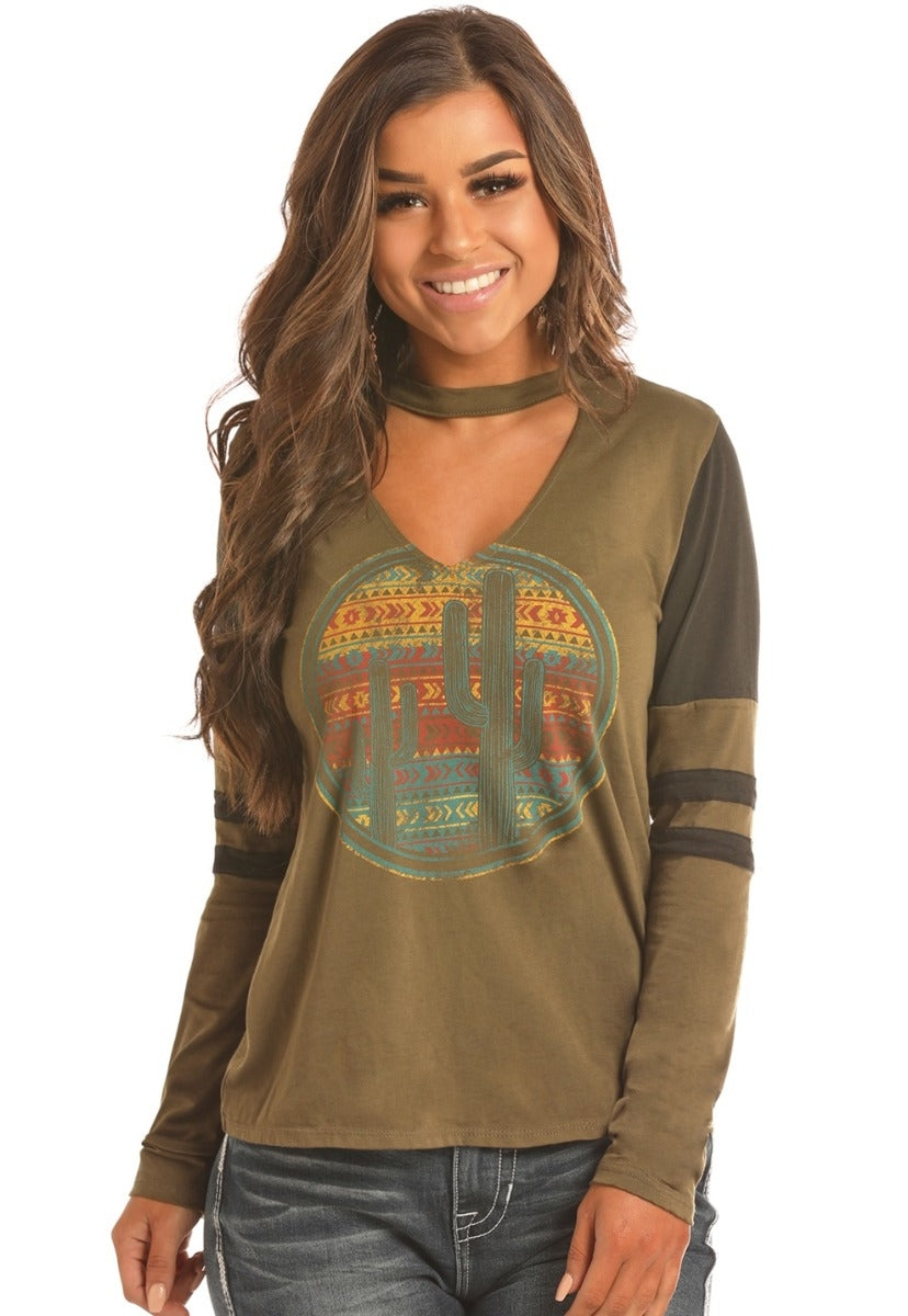 Rock N Roll Cowgirl Cactus Burnout Women's Long Sleeve