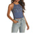 Rock & Roll Cowgirl Women's Studded Ribbed Tank Top - Blue