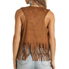 Rock & Roll Cowgirl Women's Microsuede Vest with Fringe - Camel