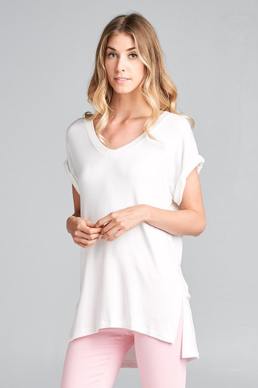 Ellison White V-Neck Women's Tee
