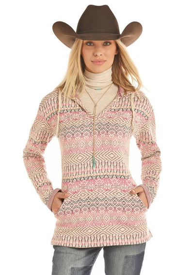Panhandle Blanket Style Long Sleeve Neon Pink and Cream Pullover
