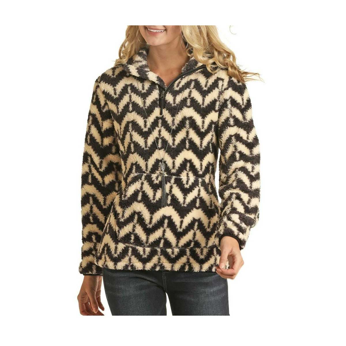 Powder River Outfitters Ladies Aztec Pullover - Charcoal