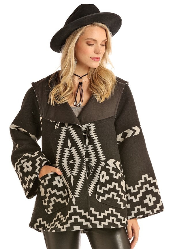 Powder River Outfitters Aztec Jacquard Wool Cape Coat