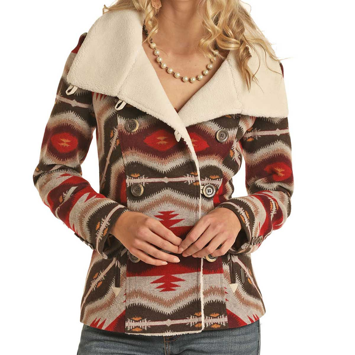 Panhandle  Women's Jacquard Jacket - Brown & Red