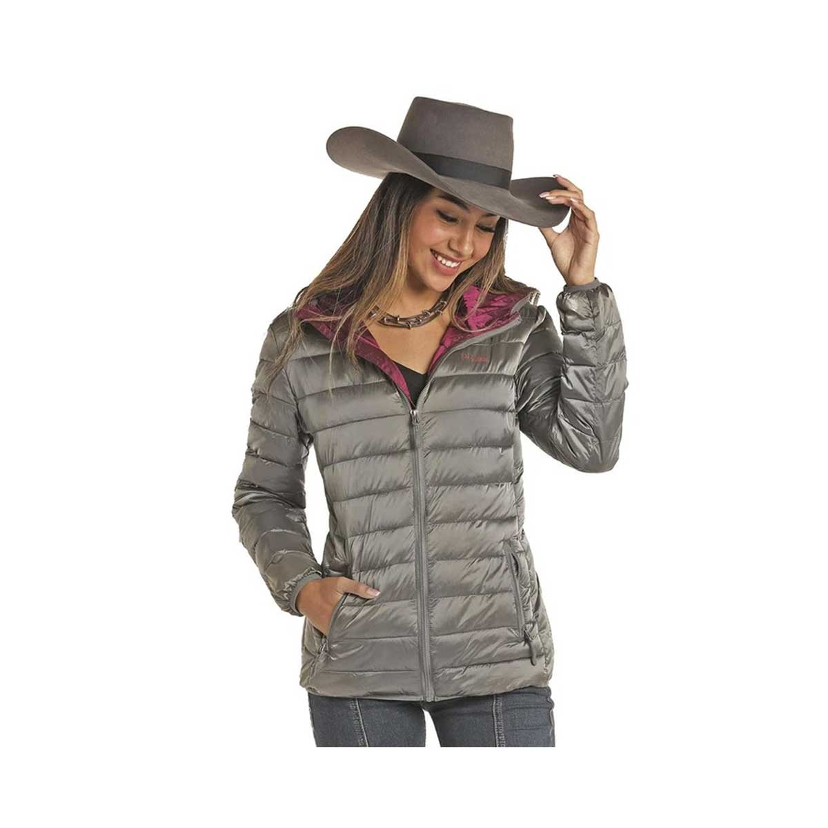 Powder River Outfitters Women's Light Weight Metallic Puffer Jacket - Charcoal