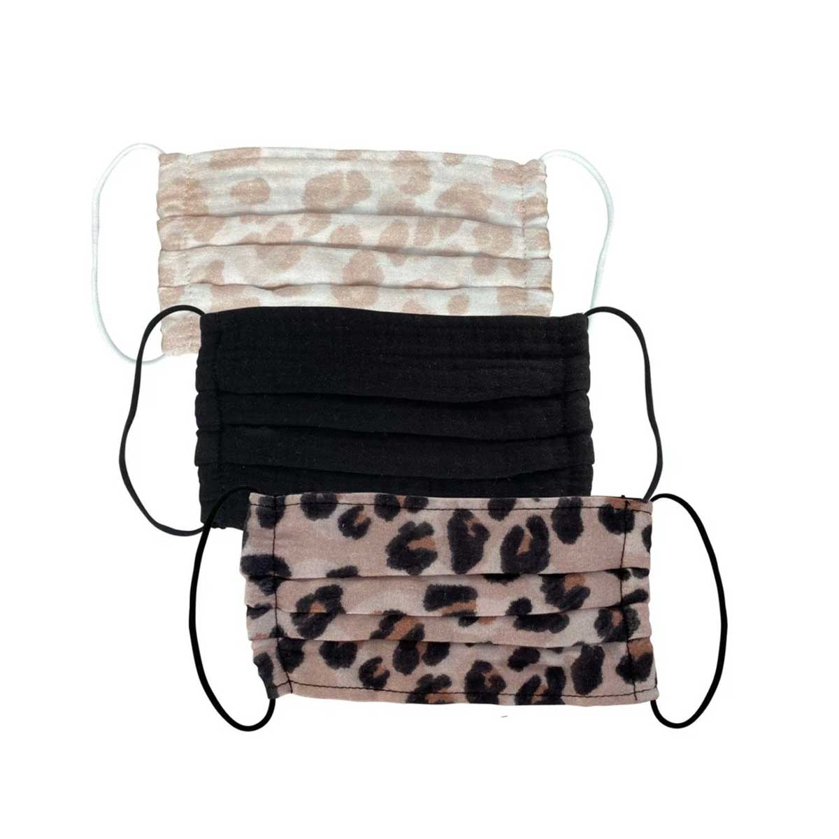 Kitsch Cotton Face Mask 3 Piece Set - Leopard