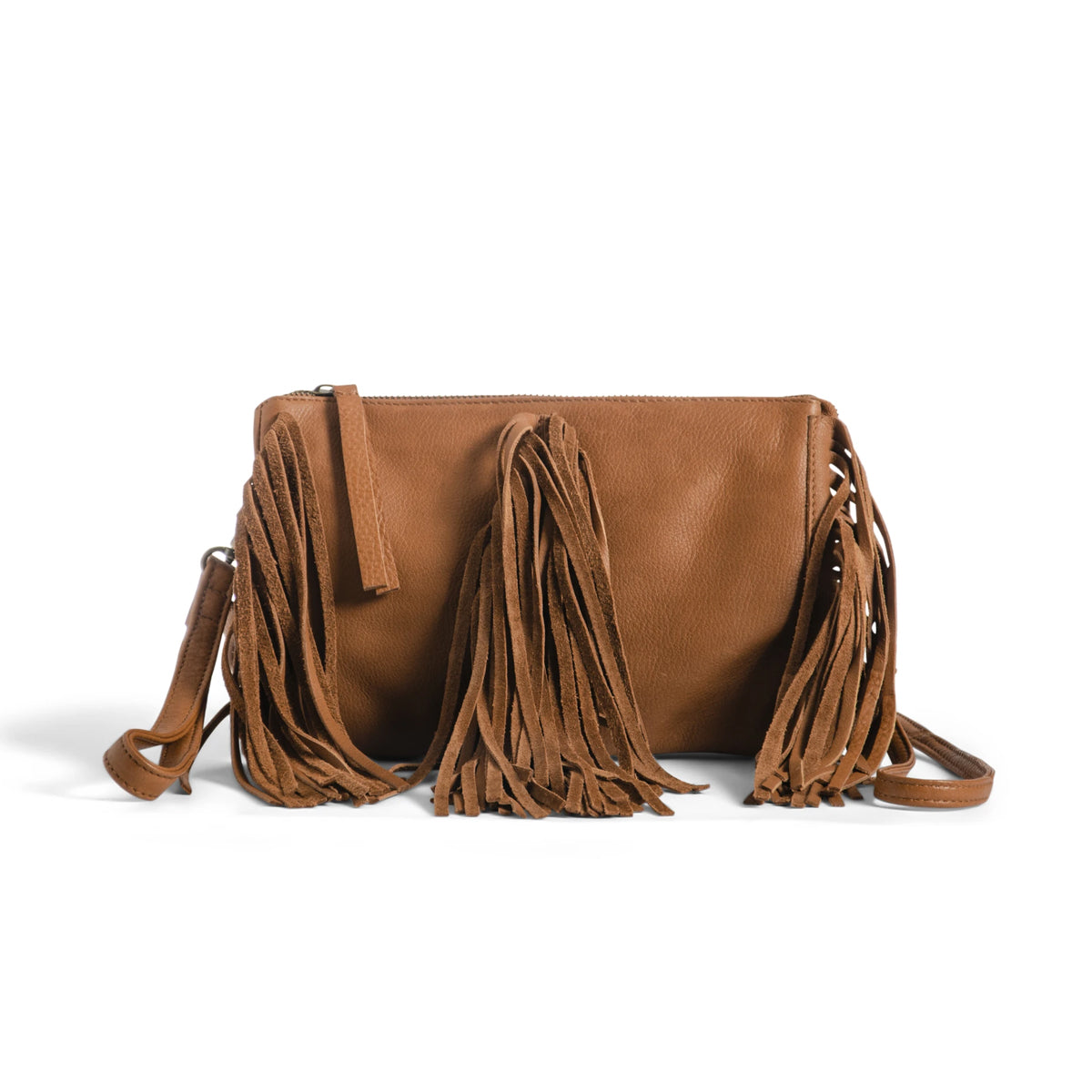 Day & Mood Gerri Crossbody Fringed Purse - Cognac