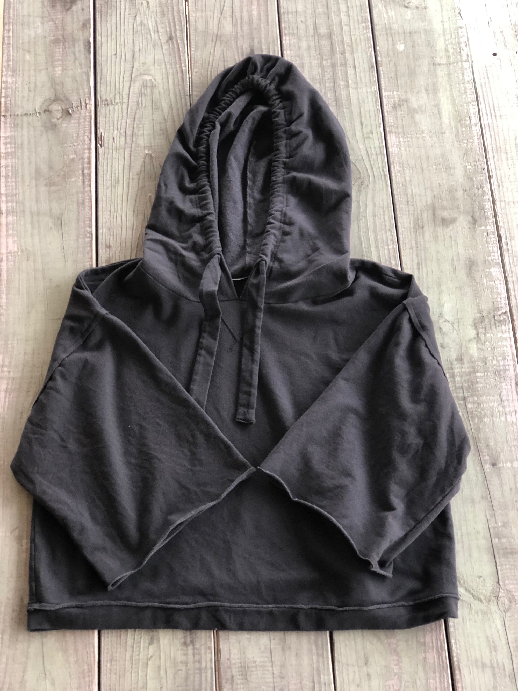 Project Social T Dorito Charcoal Crop Sleeve Hoodie